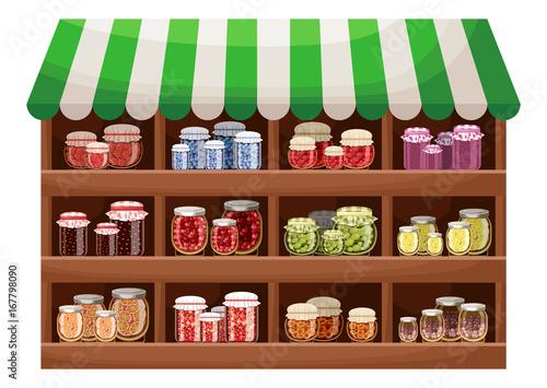 Farmer shop of berry jam