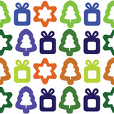Vector seamless background with christmas trees, stars and gifts