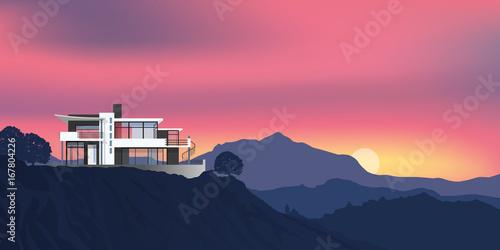Maison - paysage - montagne - point de vue - architecture - immobilier - façade © pict rider