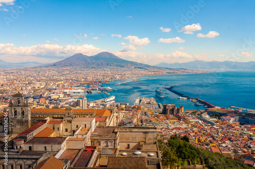 Spoed canvasdoek 2cm dik Napels Naples Cityscape - Stunning panorama with the Mount Vesuvius
