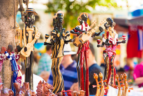Fotobehang Havana Figurines Cuban musicians. Сlose-up. Blurred background.