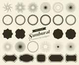 Collection of hand drawn retro sunburst, bursting rays design elements. Frames, badges