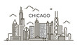 Linear banner of Chicago city. Line art.