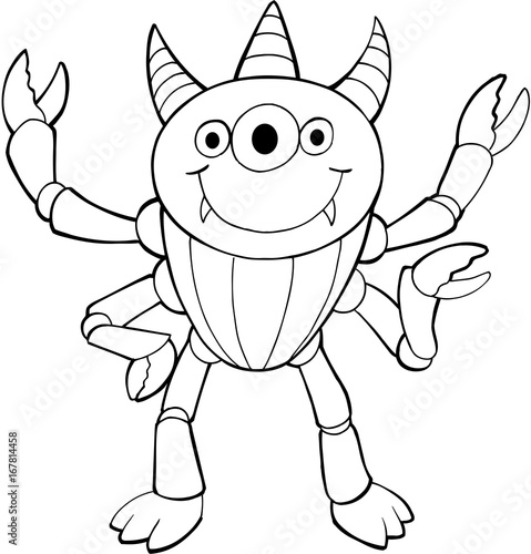 In de dag Cartoon draw Cute Halloween Alien Monster Vector Illustration Art