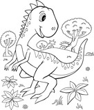 Cute Velociraptor Dinosaur Vector Illustration Art