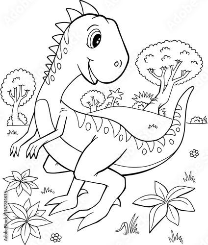 Foto op Plexiglas Cartoon draw Cute Velociraptor Dinosaur Vector Illustration Art