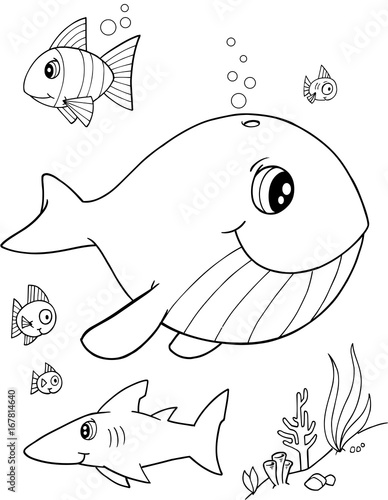 Fotobehang Cartoon draw Cute Whale Vector Illustration Art