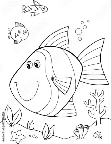 Fotobehang Cartoon draw Cute Fish Vector Illustration Art