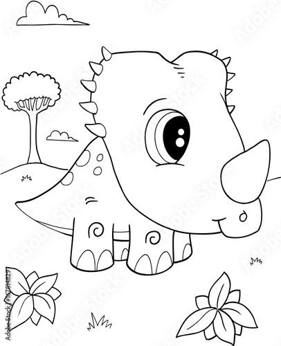 Papiers peints Cartoon draw Cute Baby Triceratops Dinosaur Vector Illustration Art
