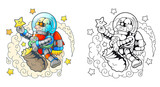 Cartoon funny astronaut collects stars - 167822664