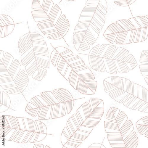 Seamless pattern with pink leaves on white background - 167822641
