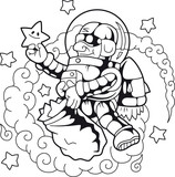 Cartoon funny astronaut collects stars - 167822834