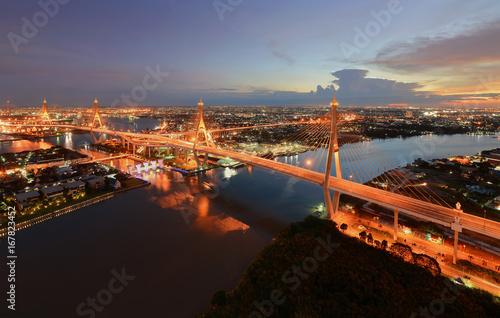Foto op Plexiglas Kiev Bhumibol Bridge at sunset, Bangkok, Thailand