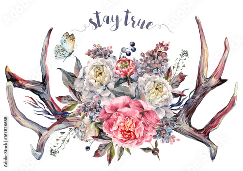 watercolor-antlers-and-flowers-boho-decoration