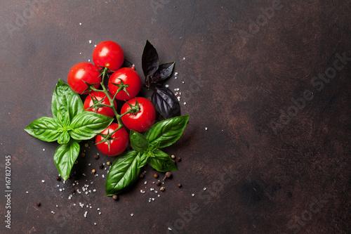 Italian food. Tomato and basil Poster