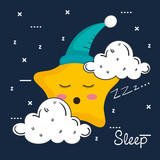 cloud and star icon sleep night dreams symbol vector illustration - 167832030