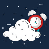 clock with time for sleep vector illustration