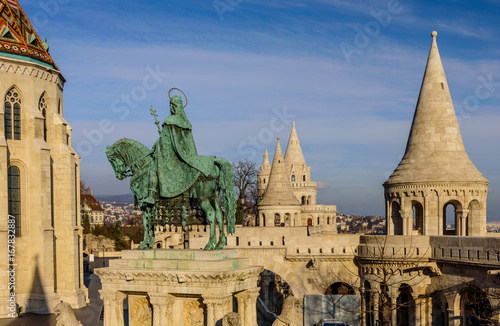 Fisherman Bastion and statue of Stephen I, Budapest, Hungary