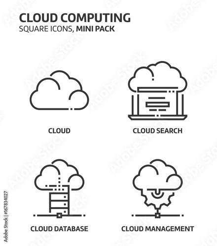 Cloud computing, square mini icon set