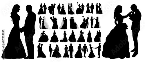 Vector, isolated silhouette of wedding, collection, set,