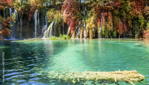Waterfall in autumn forest at National Park Plitvice Lakes. - 167837041