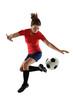 Female Soccer Player Kicking Ball