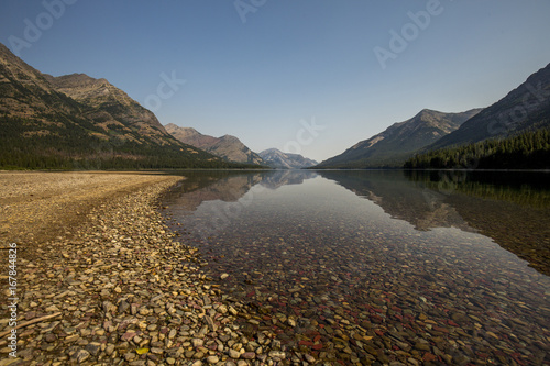 Fridge magnet mountain and lake rocky shore