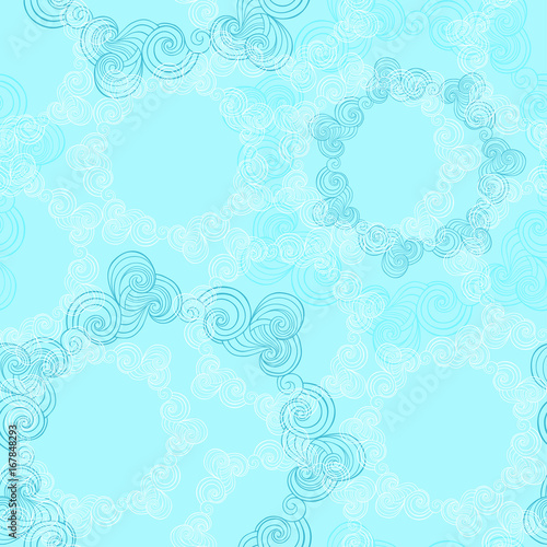 Vector seamless pattern with round waves ornamental elements.
