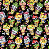 Watercolor seamless pattern, cartoon cones with skulls, pumpkins, eyes and amanitas. Halloween holiday illustration. Funny ice cream dessert. Poisonous treat. Magic, symbol of horror. - 167850876