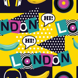 yellow pop art seamless London pattern - 167851470