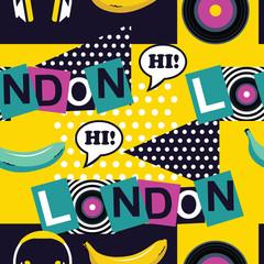 yellow pop art seamless London pattern