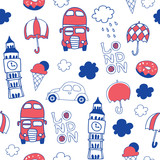 London hand drawn seamless pattern - 167855014