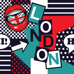 geometric pop art seamless London pattern