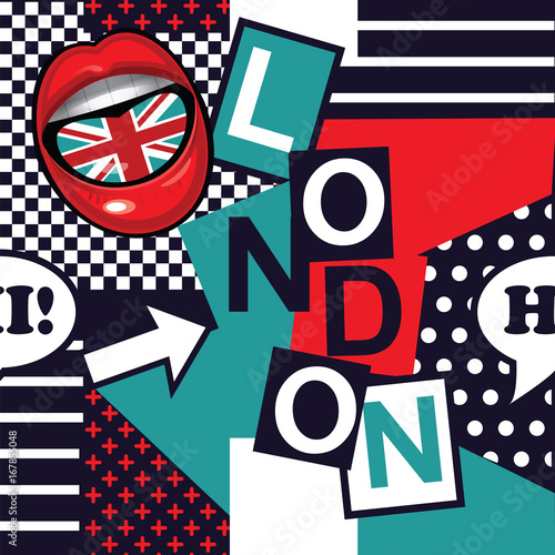Fotobehang Pop Art geometric pop art seamless London pattern