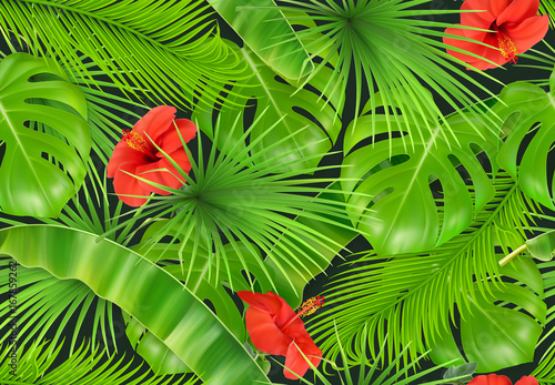 Fototapeta Jungle foliage seamless pattern. 3d vector realistic background