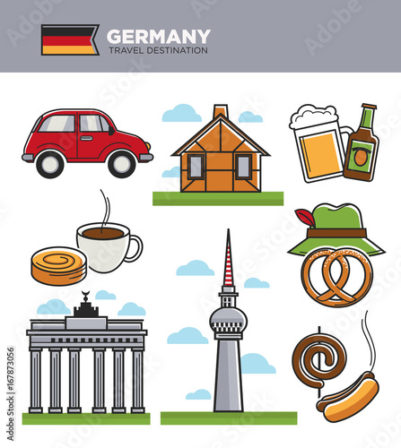 Sticker Germany travel tourism landmark symbols and tourist culture famous attractions vecto icons