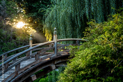 Zen setting of a bridge in a Japanese garden