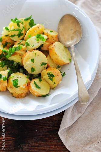 Homemade salad with potatoes, balanced meal - 167874607