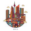 Berlin skyline. Vector line illustration