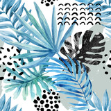 Watercolor graphical illustration: tropical leaves, doodle elements on grunge background. - 167884010