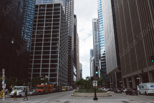 Fotobehang Chicago Street in downtown Chicago