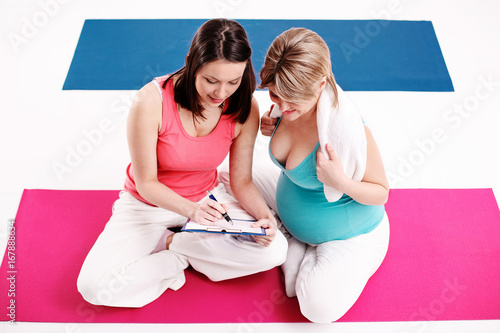 Sticker Pregnant Woman Practising Yoga