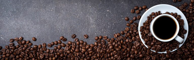 Cup of coffee with roasted coffee beans © Leszek Czerwonka