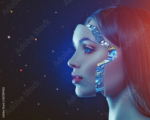 Cyber look. Science and technology backgrounds with futuristic female portrait © Dmytro Tolokonov