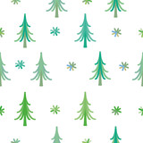 Vector seamless background winter snowflakes and christmas tree
