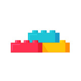 Blocks constructor toys vector illustration, flat cartoon plastic color building blocks construction or bricks toy isolated - 167913857