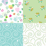 Set of vector seamless funny children`s patterns