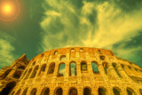 View outside the Colosseum, Rome, Italy in sunset light - 167924481