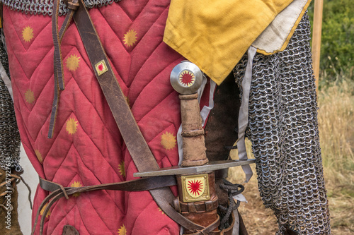Medieval sword hilt detail, chainmail, sword and shields a medieval armor knight Poster