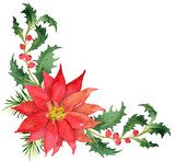 Christmas bouquet with poinsettia and berries - 167928076